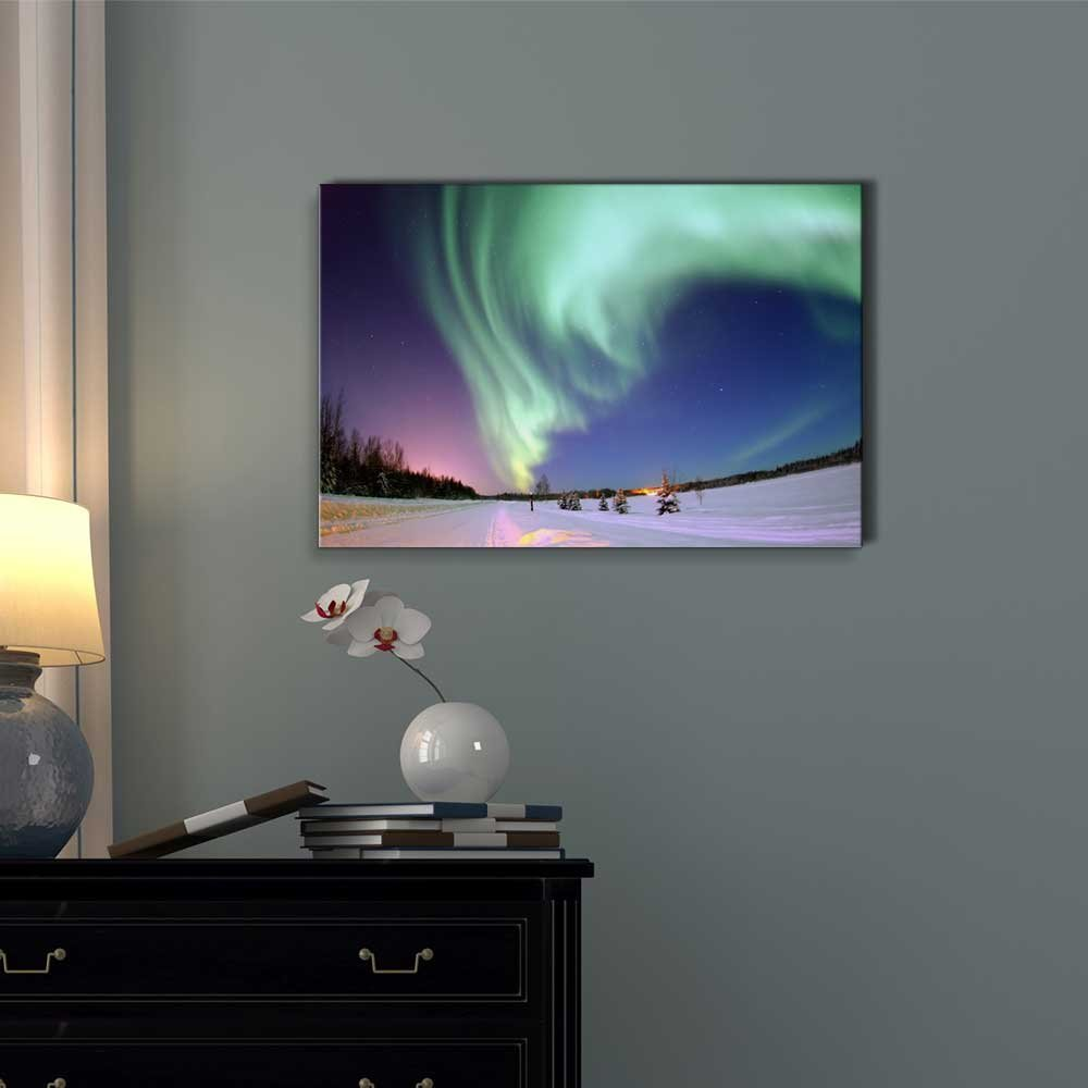 wall26 – Canvas Prints Wall Art – Aurora Borealis Northern Lights Modern Wall Decor Home Decoration Stretched Gallery Canvas Wrap Giclee Print. Ready to Hang – 16 x 24