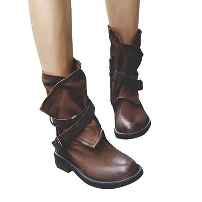Hebilla Antideslizante Patchwork De Casual Moda Punta Bloquear Con Zapatos Mujeres Redonda Mujer Zapatos Cuero Imitación Botas Talón Botines Xv74UxwOq