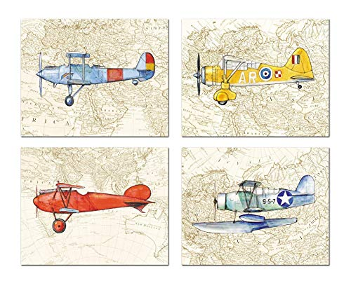 Vintage airplane Old World map decor Set FOUR prints Nursery wall art