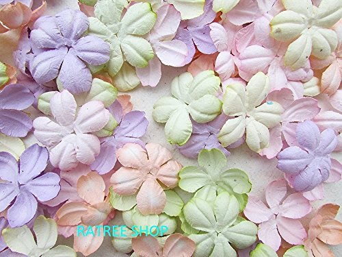 100 pcs Patch Flowers 30x30mm Mulberry Paper Flowers scrapbooking wedding doll house supplies card, Products From Thailand.
