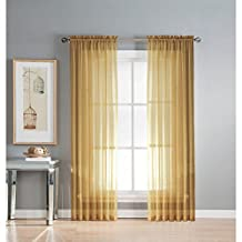 Window Elements Solid Voile Sheer Extra Wide 54 x 84 in. Rod Pocket Curtain Panel, Gold