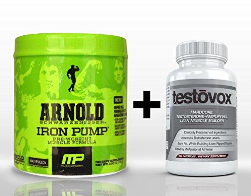Pompe de fer (30 portions) & Testovox (60 Capsules) - combinaison de renforcement musculaire de haute Performance. Force professionnelle Pre Workout Bodybuilding supplément pile (pastèque)