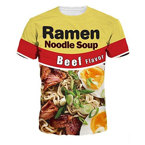 Azuki Ramen Noodle Soup Beef Flavor Print Short Sleeve T-Shirts XL