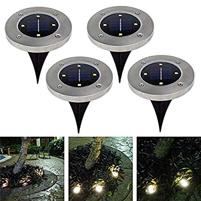 Disk Lights Solar-Powered Auto On/Off Outdoor Lighting Ground Lights Garden Lawn Pathway in-Ground Waterproof Dark Sensing Landscape (Set of 4)
