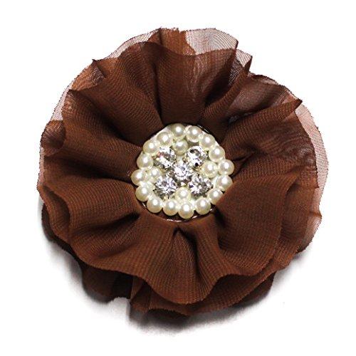 1950's Chocolate (Chocolate Brown Crystal and Pearl Chiffon Hair Clip)