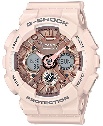 Casio Women's 'G SHOCK' Quartz Stainless Steel and Resin Casual Watch, Color:Pink (Model: GMA-S120MF-4ACR) by Casio