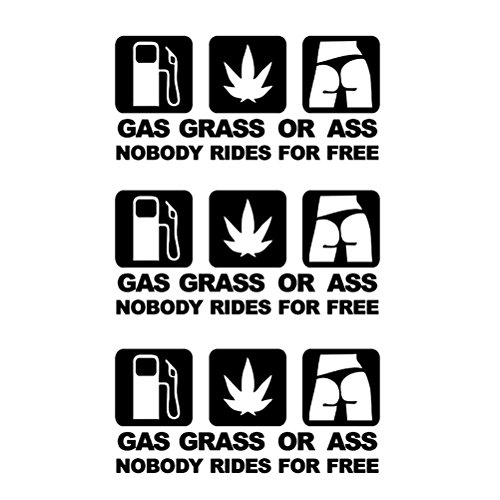 VORCOOL 3pcs Gas Grass or Ass Nobody Rides for Free Car Sticker Reflective Auto Decal ()