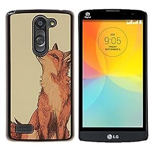 For LG L Bello L Prime D337 - fox cute drawing red smart nature /Caja protectora de pl???¡¯????stico duro de la cubierta Dise???¡¯???¡Ào Slim Fit/ - Super