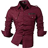 jeansian Men's Slim Fit Long Sleeves Casual Shirts 8371