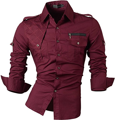 4af41ba8d48 Zimaes-Men Solid Plus Size Slim Fit Double-Breasted Western Shirt ...