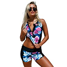 Foryingni Women's Zip Front Floral 2 Piece Tankini Swimsuit with Boyshorts