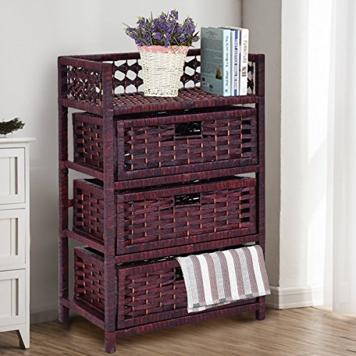 Giantex Storage Organizer with 3 Drawers Shelf Cabinet Wood Frame Cabinet For Bedroom, Office & Living Room, Reddish Brown (Shelf Unit Wicker)