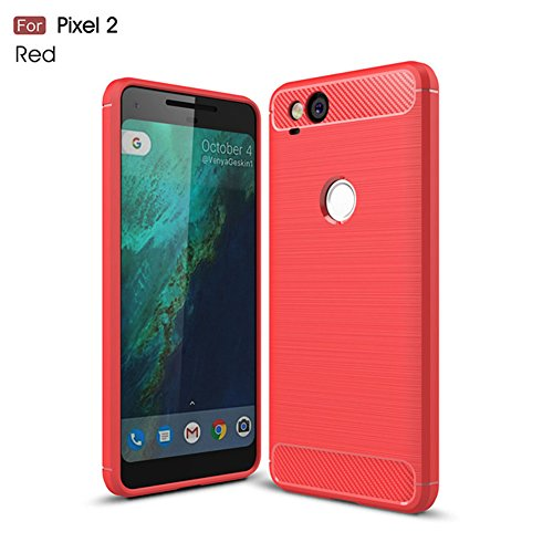 Price comparison product image HONTECH Google Pixel 2 Case,  Soft TPU Case Carbon Fiber Silicone Rubber Phone Back Cover (2017) (Red)