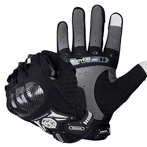 SCOYCO Screen Sensitive Carbon Fiber Knuckle Reinforced Breathable Shockproof Wear Resistant Warm Crashproof Cycling Racing Motorcycle Gloves(BLACK,L)