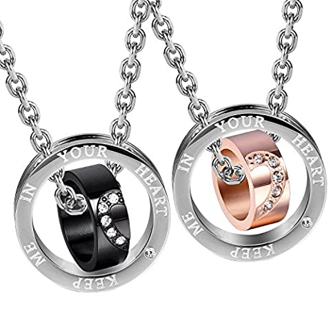 """Sparkle 2pcs His & Hers Heart Couples Jewelry CZ Double Ring Pendant Necklace Set with 19"""" & 21"""