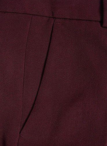 oodji Ultra Mujer Pantalones Clásicos con Bolsillos Rojo (4900N)