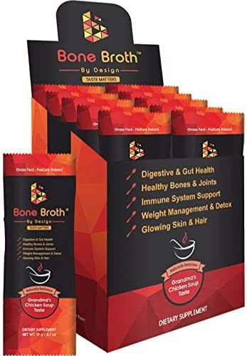 Bone Broth Grass FED Beef 10 Sachets Grandma Chicken Soup Natural Flavor Paleo Ketogenic Non-GMO Broth by Design