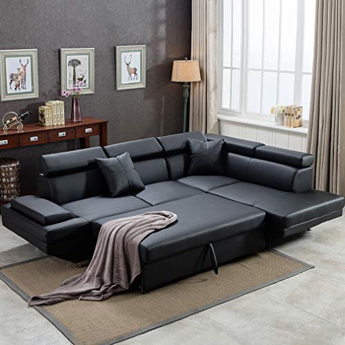 - FDW Sofa Sectional Sofa Futon Sofa Bed Corner Sofas for Living Room Furniture Couch and Sofas Set Leather Sleeper Modern Contemporary Upholstered Black