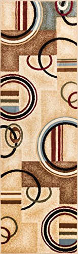 Well Woven Barclay Arcs & Shapes Ivory Modern Geometric Area Rug 2'3'' X 7'3'' Runner by Well Woven