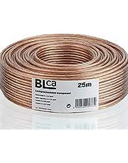 BLca 25 m 2 x 2,5 mm² luidsprekerkabel CCA I luidsprekerkabel geïsoleerd transparant met polariteitsmarkering I LS-kabel per meter voor stereo-installatie enz.