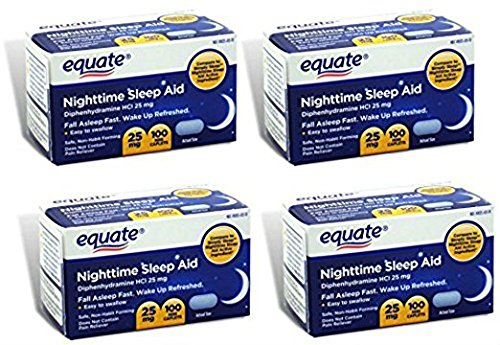 Aid Caplets - Equate - Nighttime Sleep Aid 25 mg, 100 Mini-Caplets (Pack of 4)