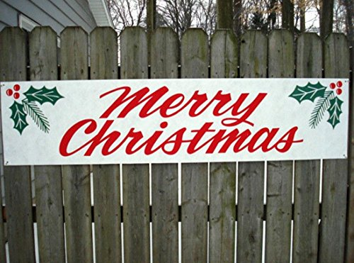 """1 Pc Ideal Popular Merry Christmas Sign Outdoor Waterproof Yard Decor Indoor Screen Size 17"""" x 72"""" Banner Signs"""