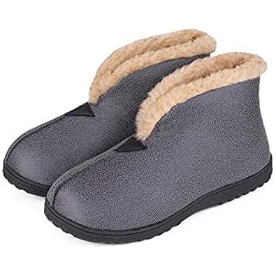 MERRIMAC Men's Comfy Faux Leather Boot Slippers Memory Foam Fuzzy Plush Indoor Outdoor House Shoes w/Foldable Collar 12 D(M) US, Dark Gray
