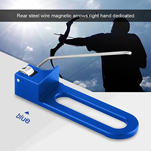 Professional Aluminum Recurve Bow, 3 Colors Durable Archery Magnetic Arrow Rest For Right Hand(Blue) - 0.5' Blue Packing
