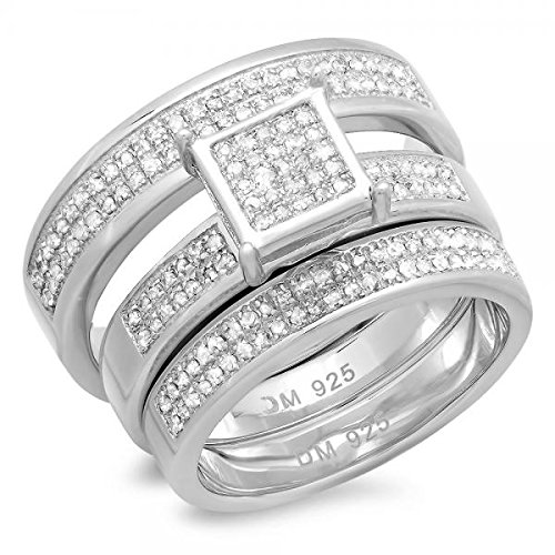 0.50 Carat (ctw) Sterling Silver Round Diamond Men & Women's Micro Pave Engagement Ring Trio Set 1/2 CT by DazzlingRock Collection