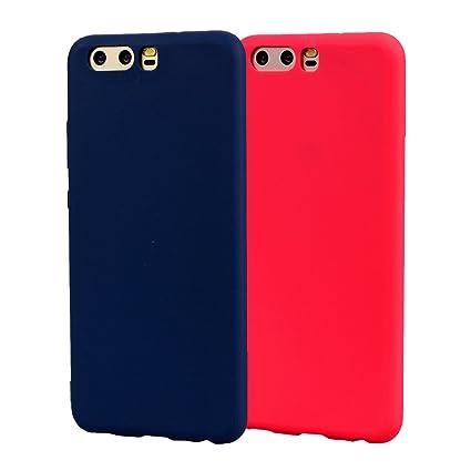 Funda HuaWei P10, 2Unidades Carcasa HuaWei P10 Silicona Gel, OUJD Mate Case Ultra Delgado TPU Goma Flexible Cover para HuaWei P10- Azul + rojo