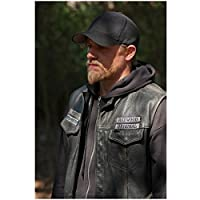 Sons of Anarchy 8x10 Photo Charlie Hunnam Black Hoodie Under Black Leather Vest Black Baseball Cap kn