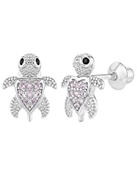 925 Sterling Silver Pink CZ Little Turtle Screw Back Earrings for Toddlers Girls