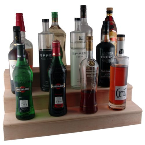 Liquor Bottle Shelves - Handcrafted Wooden - 3 Tier Natural