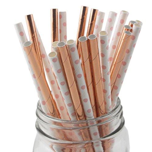 SSORA Disposable Drinking Paper Straws Biodegradable Rose Gold