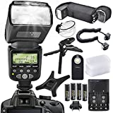 XPIX High Power Auto-Focus Digital SLR Flash for Nikon Camera with Deluxe Accessory Bundle