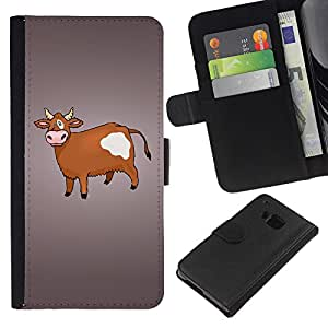 KingStore / Leather Etui en cuir / HTC One M9 / Vaca de Brown Agricultura Animal Derechos Dibujo