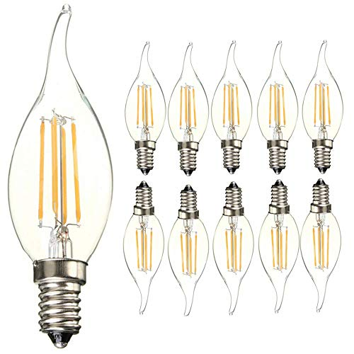 E14 Base LED Light Bulbs 4W C35 Antique Candelabra Filament Candle Lamp Bulb, Energy Saving Warm White 2700K Vintage Style Flame Shape Bent Tip Bulb, 40W Incandescent Bulb Equivalent AC110V (10 Pack)