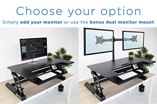Mount-It! Standing Desk Converter with Bonus Dual Monitor Mount Included - Height Adjustable Stand Up Desk - Wide 36 Inch Sit Stand Workstation with Gas Spring Lift- Black (MI-7934) by Mount-It! (Image #5)