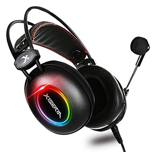 XIBERIA E3 Black Gaming Headset, Over-Ear Stereo Gaming Headphones with Uni-Directional Microphone for PC, Computer, Laptop, PS4, Xbox One, Nintendo Switch, Mac, iPad