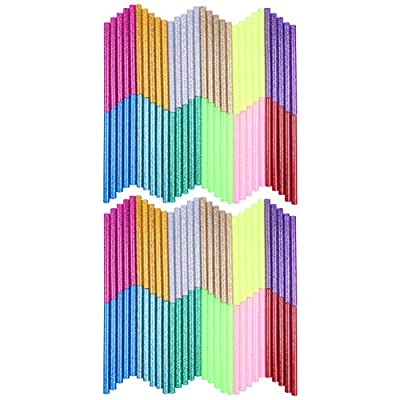 Petift Colored Glitter Hot Glue Sticks,Hot Melt Adhesive Glue Sticks Mini Size 0.27 inch by 3.93 inch for Arts Crafts, DIY, Home General Repair, Crafting Project, Holiday Ornament