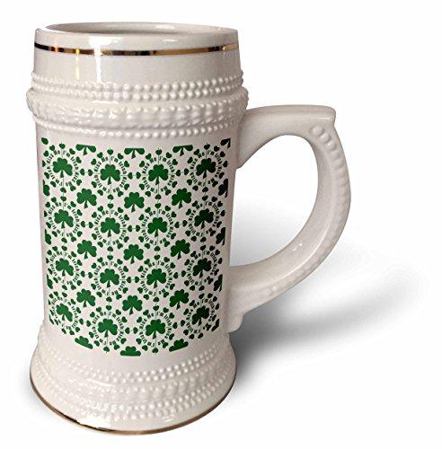 3dRose Anne Marie Baugh - St. Patricks Day - Cute Clover and Kiss Me Im Irish Green and White Pattern - 22oz Stein Mug (Im Irish Stein)
