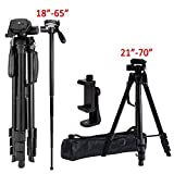 Video Camera Tripod Travel Monopod (70 Inch Aluminum professional Camera Mount Leg) Adjustable Tripod Stand with Flexible head for Canon Nikon DV DSLR Camcorder Gopro cam& Carry Bag & Cell Phone Mount