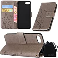 iPhone 7 Case, DRUnKQUEEn Premium Quality Protective Flip Folio PU Leather Cover Wallet Phone Holder with Foldable Kickstand for Apple iPhone7