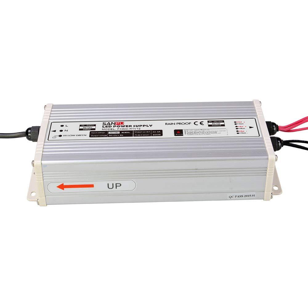 JMWaaBong Switch Mode Power Supply 400W 12V 33A Constant Voltage LED Driver 12VDC Rainproof Outdoor 110V AC to DC 12 Volt Transformer Converter Shenzhen SANPU SANPUFX400-H1V12