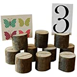Elisona®10 PCs Wooden Stump Shape Wedding Party Reception Place Card Holder Number Name Table Menu Picture Photo Clip Card Holder Stand