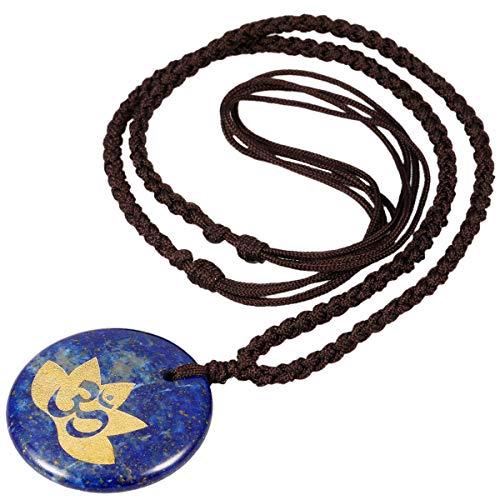 TUMBEELLUWA Stone Pendant Necklace Amulet Reiki Healing Crystal Chakra with Nylon Cord Handmade Jewelry for Women,Lapis ()
