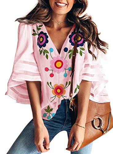 BLENCOT Women's Summer Floral Print V Neck Bell Sleeve Chiffon Blouses Casual Loose Tee Shirt Tops Pink Large