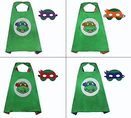 amp; Cape Party Costume Mask Girl Nijia Set Kids Boy set Costume Cape Mask Red Turtle 5XxYwqqO