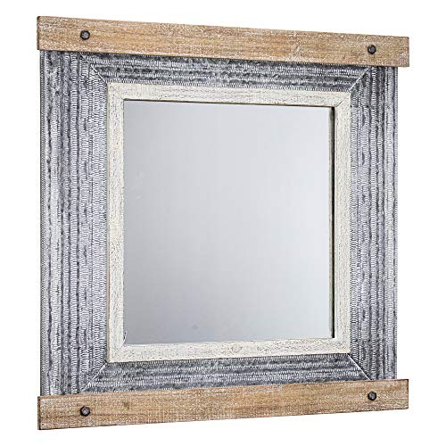 "American Art Décor Rustic Wood and Metal Hanging Wall Vanity Mirror - Farmhouse Décor (24.5"" H x 25.75"" L)"