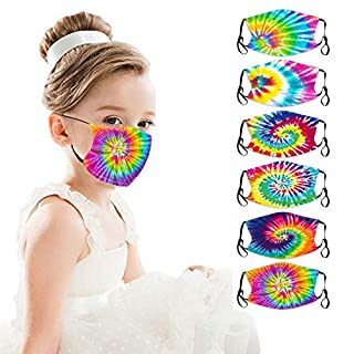 Rither 6Pcs Kids Cute Dyed Face Bandanas Breathable Washable Cotton Dust Protection for Toddlers Children